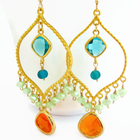 Bollywood Chandelier Earrings Gypsy Bohemian Style Statement Earring - Sienna Grace Jewelry