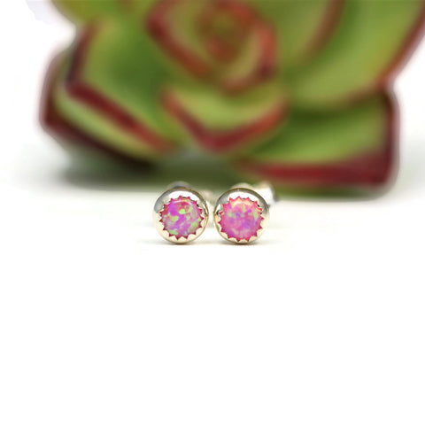 Pink Opal Sterling Silver Stud Post Earrings - Sienna Grace Jewelry