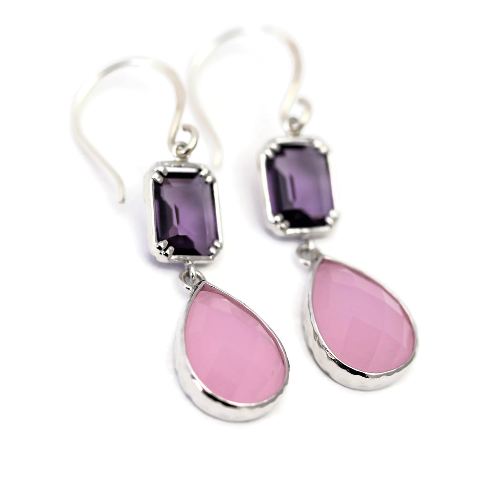 Pink And Purple Drop Earrings - Sienna Grace Jewelry