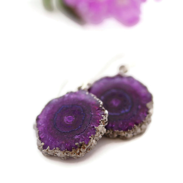 Natural Solar Druzy Quartz Crystal Earrings Black Rhodium Electroplated