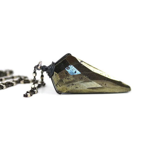 Natural Pyrite Faceted Kite Pendant Oxidized Sterling Silver - Sienna Grace Jewelry | Pretty Little Handcrafted Sparkles