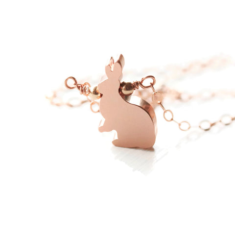 Rose Gold Bunny Rabbit Necklace Woodland Rabbit Jewelry