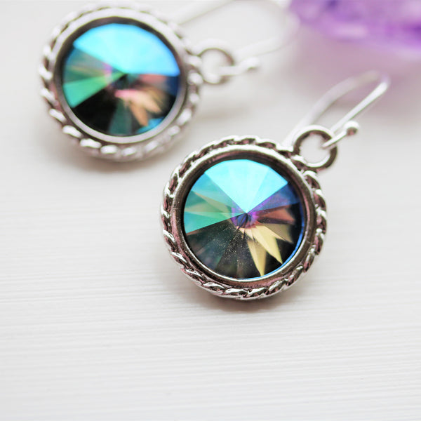 Swarovski Crystal Silver Earrings Unicorn Colors Dangle Drop Earrings - Sienna Grace Jewelry