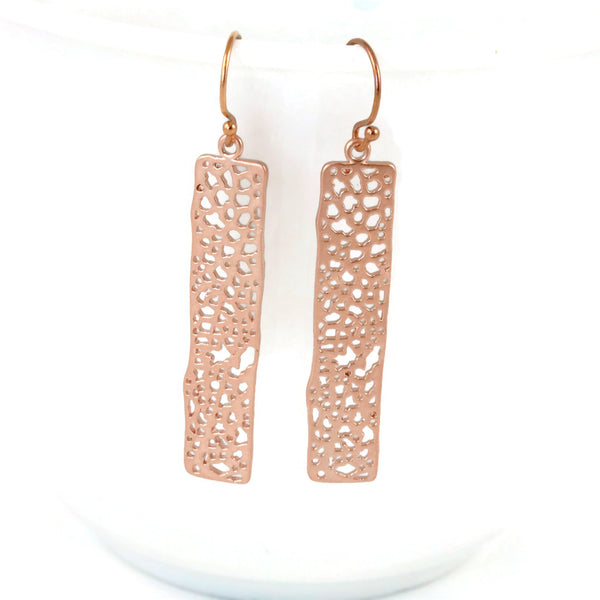 Rose Gold Filigree Earrings Modern Minimalist Style - Sienna Grace Jewelry | Pretty Little Handcrafted Sparkles