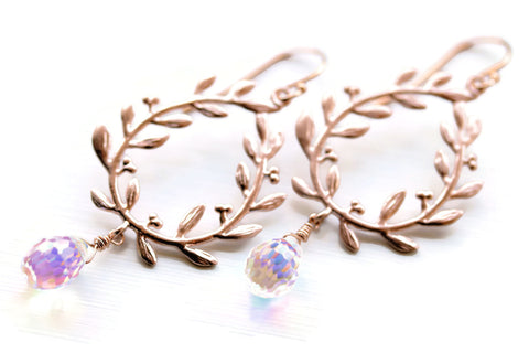 Rose Gold Laurel Leaf Earrings