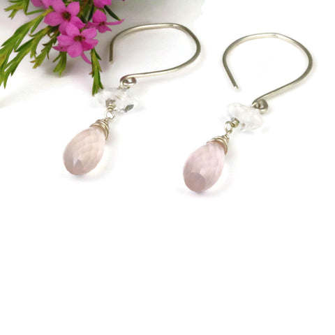 Rose Quartz and Herkimer Diamond Dangle Earrings - Sienna Grace Jewelry | Pretty Little Handcrafted Sparkles