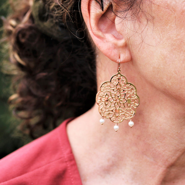 Rose Gold Filigree Earrings With Freshwater Pearl Dangles  - Sienna Grace Jewelry