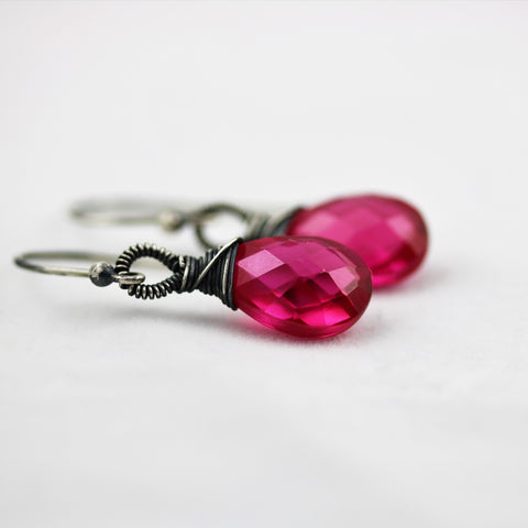 Rubellite Hot Pink Quartz Oxidized Sterling Silver Earrings