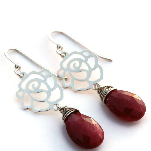 Ruby Earrings with Sterling Silver Roses