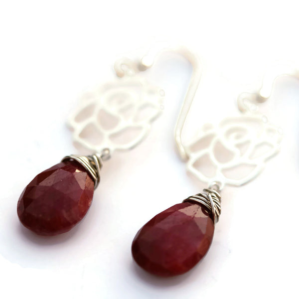 Ruby Earrings with Sterling Silver Roses - Sienna Grace Jewelry | Pretty Little Handcrafted Sparkles