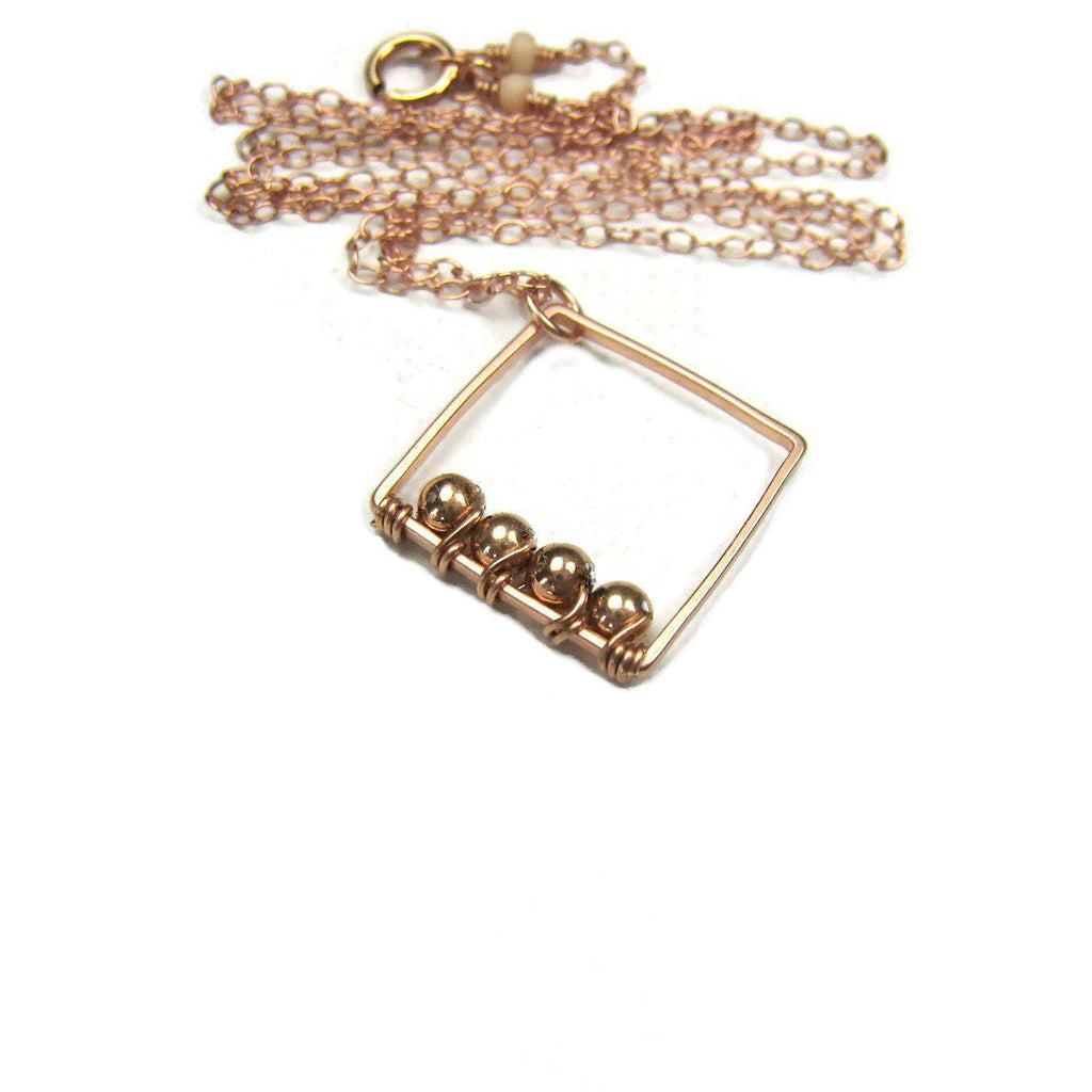 As Seen On Law and Order SVU Minimalist Rose Gold Square Geometric Necklace
