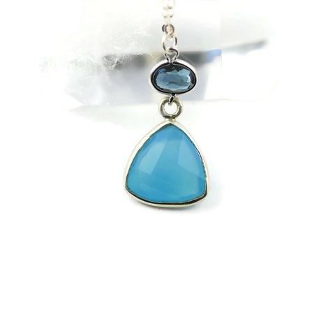 Blue Chalcedony Sterling Silver Necklace - Sienna Grace Jewelry