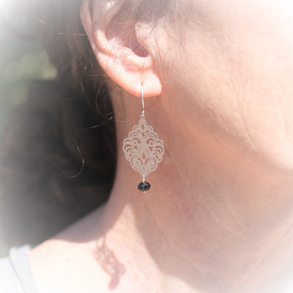 Gold or Silver Filigree Earrings with Pearl or Hematite Dangle