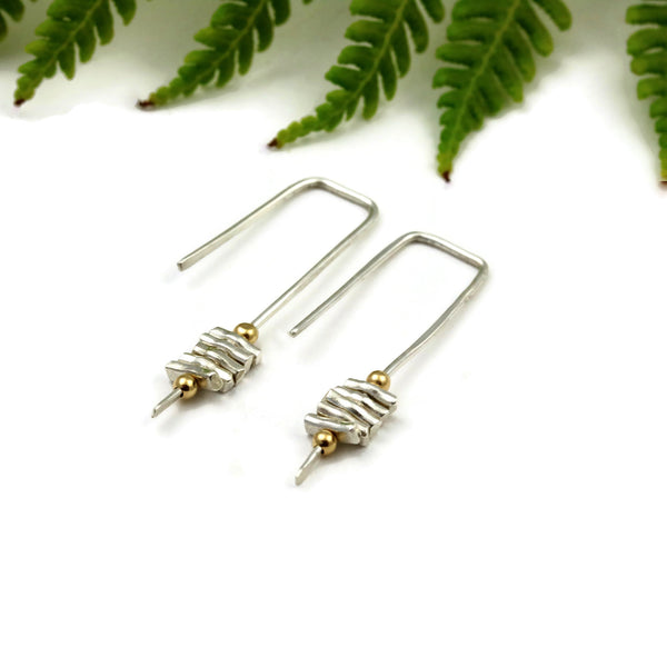 Rectangular Open Arc Sterling Silver Stick Earrings - Sienna Grace Jewelry