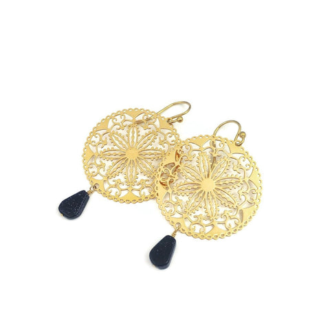 Gold Filigree Earrings Round Floral Bohemian Style