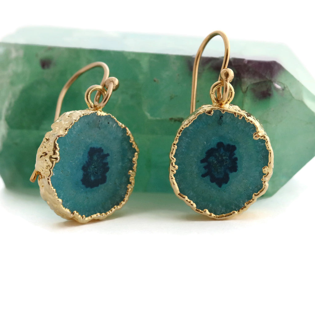 Teal Green Solar Quartz Earrings Gold Filled Ear Wires - Sienna Grace Jewelry | Pretty Little Handcrafted Sparkles