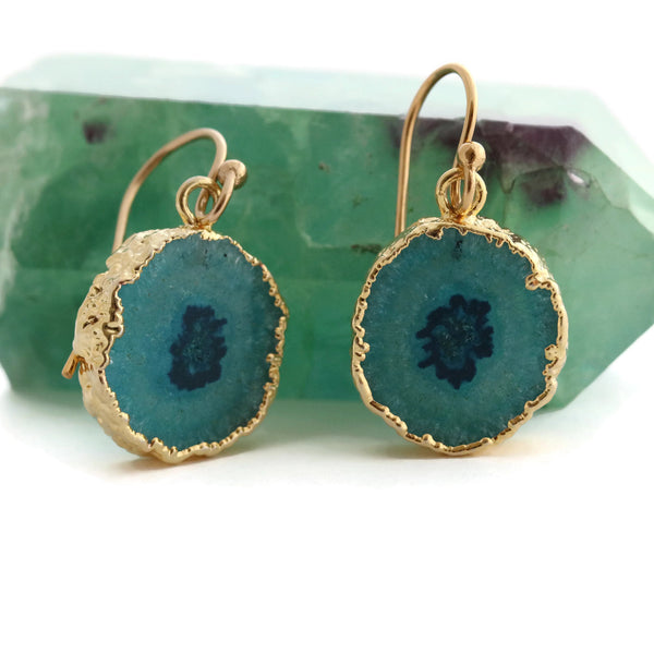 Teal Green Geode Earrings Gold Filled Ear Wires - Sienna Grace Jewelry
