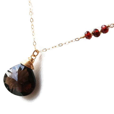 Smoky Quartz 14 k Gold Filled Pendant with Red Garnets - Sienna Grace Jewelry | Pretty Little Handcrafted Sparkles