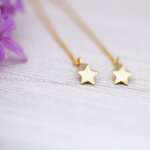 Shooting Stars Ear Threads Threader Style Earrings Gold or Silver - Sienna Grace Jewelry