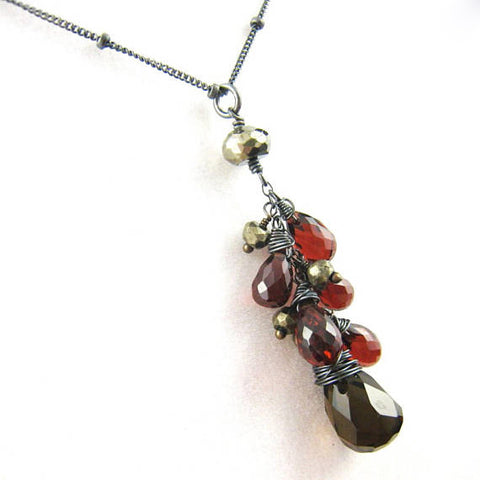 As Seen On The Vampire Diaries Elenas Smoky Quartz Red Garnet Necklace - Sienna Grace Jewelry | Pretty Little Handcrafted Sparkles