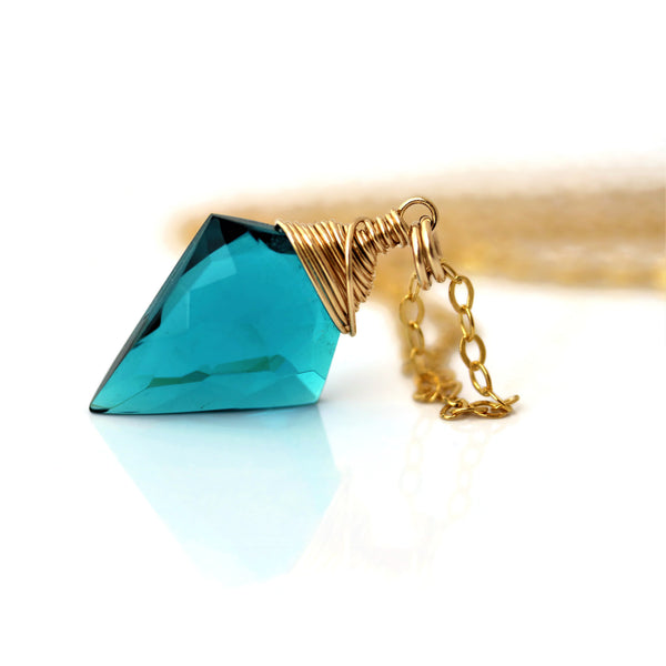 Teal Quartz Necklace Arrowhead Quartz 14 k Gold Filled - Sienna Grace Jewelry