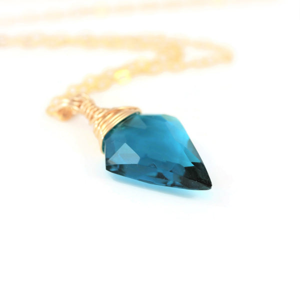 Teal Quartz Necklace Arrowhead Quartz 14 k Gold Filled