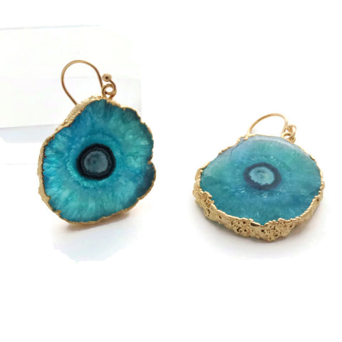 Teal Blue Solar Quartz Earrings Gold Filled Ear Wires