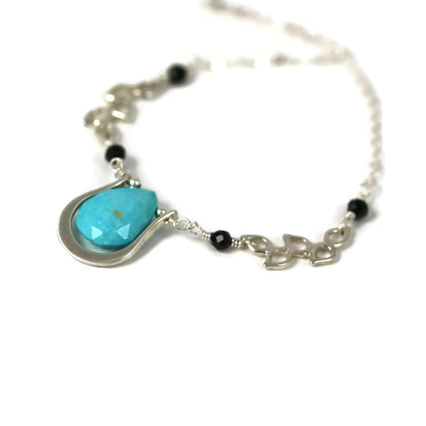 Turquoise and Black Spinel Sterling Silver Pendant - Sienna Grace Jewelry