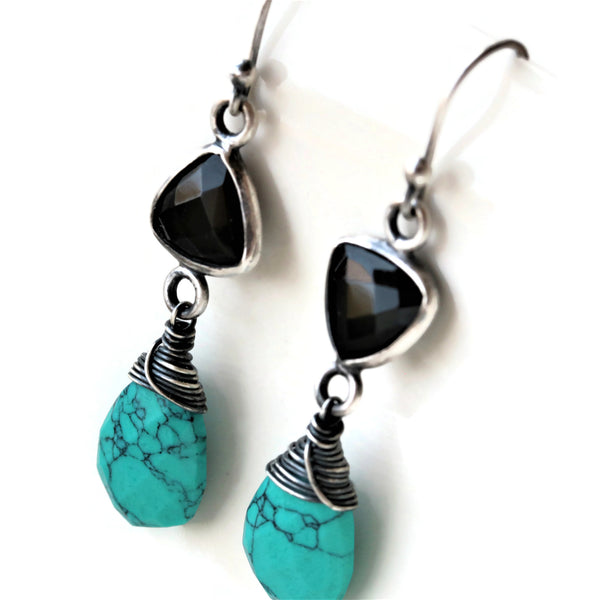 Black Onyx Turquoise Howlite Oxidized Sterling Silver Earrings - Sienna Grace Jewelry