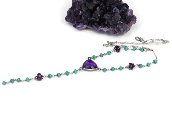 Amethyst and Turquoise Sterling Silver Y Necklace Layering Jewelry - Sienna Grace Jewelry