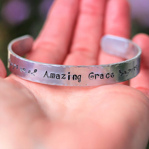 Amazing Grace Hand Stamped Bracelet Adjustable Aluminum - Sienna Grace Jewelry | Pretty Little Handcrafted Sparkles