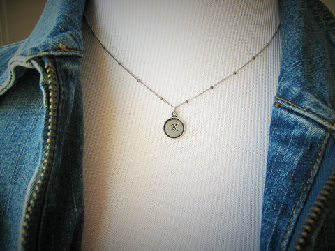 Tiny Initial Necklace Hand Stamped Personalized Sterling Silver