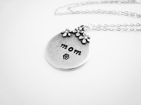 Mothers Necklace Hand Stamped Personalized Gift - Sienna Grace Jewelry | Pretty Little Handcrafted Sparkles