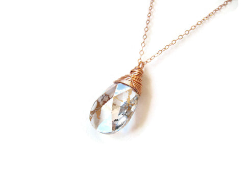 Swarovski Rose Gold Crystal Wire Wrapped Pendant Necklace - Sienna Grace Jewelry | Pretty Little Handcrafted Sparkles
