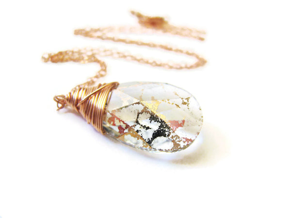 Swarovski Rose Gold Crystal Wire Wrapped Pendant Necklace