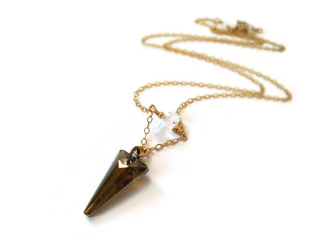 As Seen On The Vampire Diaries Season 7 Crystal Spike Necklace Worn by Caroline - Sienna Grace Jewelry
