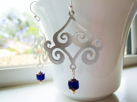 Silver Chandelier Moroccan Style Earrings - Sienna Grace Jewelry | Pretty Little Handcrafted Sparkles