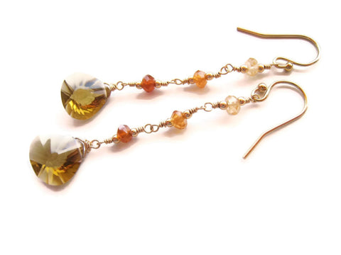 Honey Quartz Dangle Drop Garnet Earrings