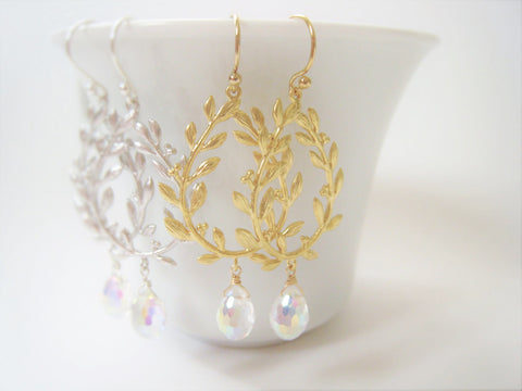 Gold Laurel Leaf Earrings - Sienna Grace Jewelry | Pretty Little Handcrafted Sparkles