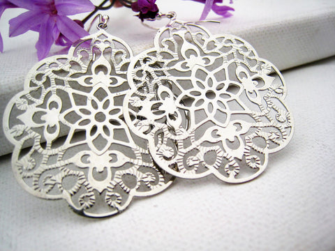Silver Filigree Earrings Moroccan Style Bohemian Inspired - Sienna Grace Jewelry | Pretty Little Handcrafted Sparkles