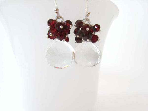 Rock Crystal Quartz Cluster Earrings with Red Garnets - Sienna Grace Jewelry