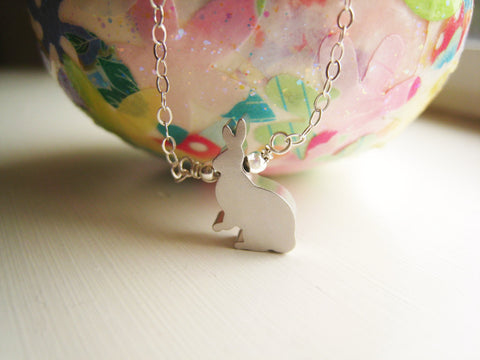 Silver Bunny Rabbit Necklace Woodland Rabbit Jewelry - Sienna Grace Jewelry | Pretty Little Handcrafted Sparkles