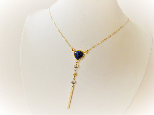 As Seen on The Vampire Diaries Lapis Lazuli Y Necklace Gold Version