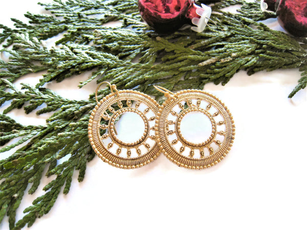 Gold Circle Earrings Boho Festival Style - Sienna Grace Jewelry | Pretty Little Handcrafted Sparkles