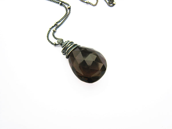 Brown Smoky Quartz Crystal Necklace
