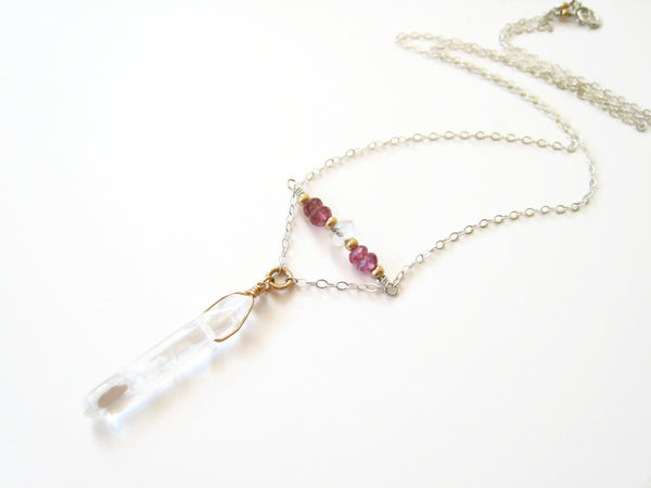 Raw Rock Crystal Quartz Point Necklace