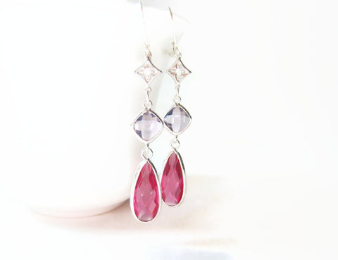 Pink Red and Purple Glass Earrings - Sienna Grace Jewelry | Pretty Little Handcrafted Sparkles