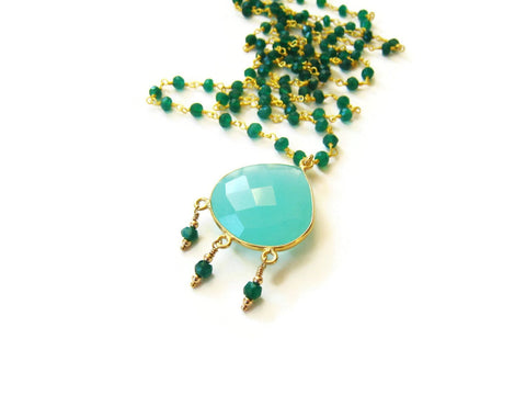Long Green Onyx Bohemian Style Necklace - Sienna Grace Jewelry | Pretty Little Handcrafted Sparkles