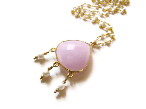 Long Pink Pearl Bohemian Boho Style Necklace - Sienna Grace Jewelry | Pretty Little Handcrafted Sparkles