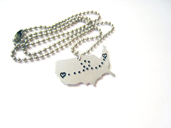 Map Necklace Long Distance Love Heart To Heart Couples Gift